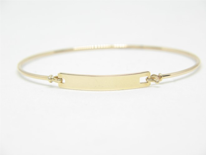 14k Yellow Gold Baby Id Bracelet Bangle 001 416 00018 Children S Bracelets From Arezzo Jewelers Chicago Il